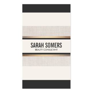 Elegant Chic Black  White Stripes Gold Pack Of Standard Business Cards