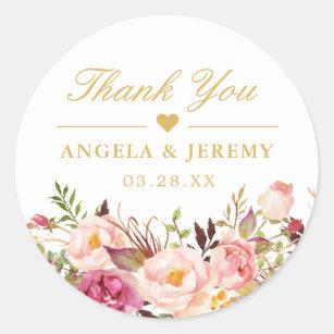 Elegant Chic Blush Pink Floral Wedding Thank You Classic Round Sticker