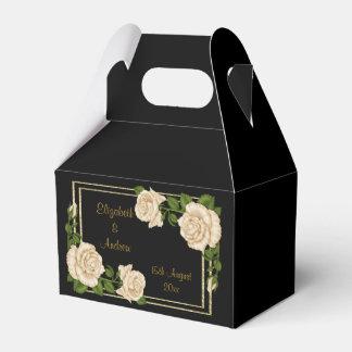 Elegant Chic Corner Ivory Roses Bouquets Wedding Favour Box
