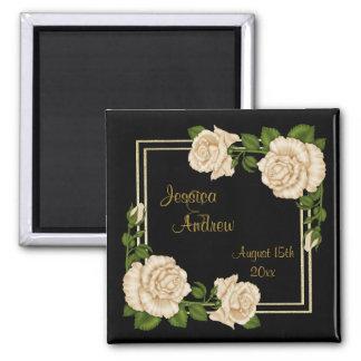 Elegant Chic Corner Ivory Roses Bouquets Wedding Square Magnet
