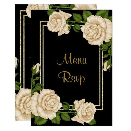 Elegant Chic Corner Ivory Roses Wedding Menu RSVP