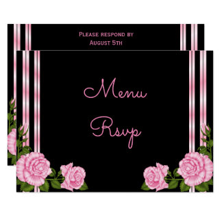 Elegant Chic Corner Rose Bouquet Menu RSVP Card