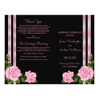 Elegant Chic Corner Rose Bouquet Wedding Program 21.5 Cm X 28 Cm Flyer