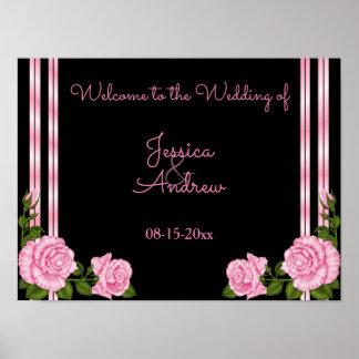 Elegant Chic Corner Rose Bouquet Welcome Poster