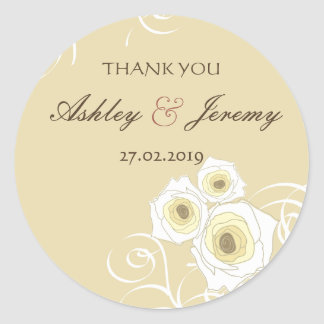 Elegant Chic Cream Roses & Swirls Wedding Sticker