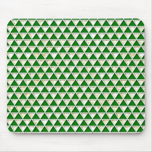 Elegant chic cute triangle green white pattern mouse pad