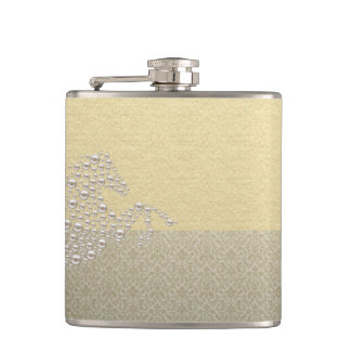 Elegant Chic Damask Horse Pearls Hip Flask