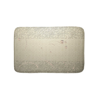 Elegant Chic Damask Lace Pearls Bath Mats