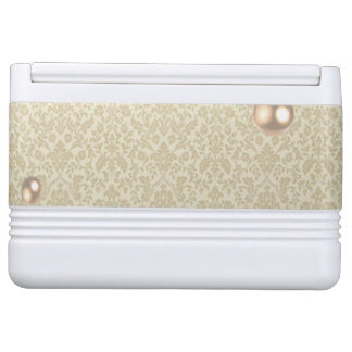 Elegant Chic Damask Lace Pearls Igloo Cooler