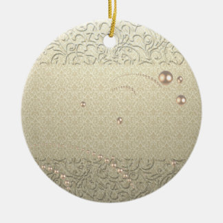 Elegant Chic Damask Lace Pearls Round Ceramic Decoration