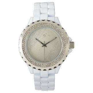 Elegant Chic Damask Lace Pearls Watch