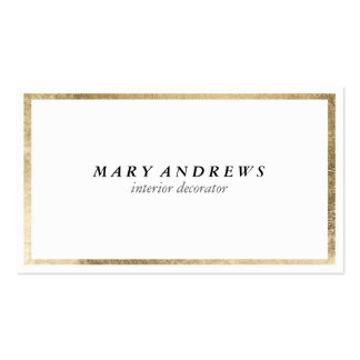Elegant chic faux foil gold plain white luxury pack of standard business cards