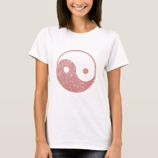 Elegant Chic Faux Glitter Rose Gold Ying Yang T-Shirt