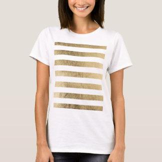 Elegant chic faux gold foil luxury stripe pattern T-Shirt