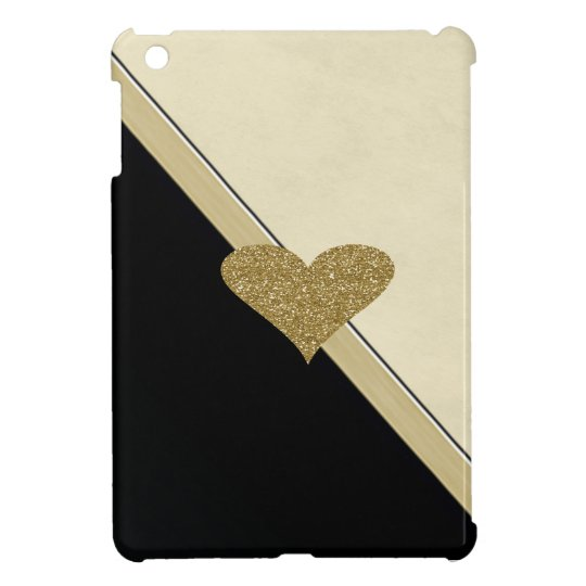 Elegant Chic Faux Gold Glittery Heart Case For
