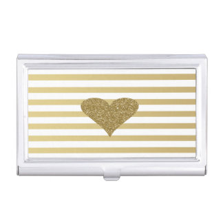 Elegant Chic  Faux Gold Glittery  Heart On Stripes Business Card Holder