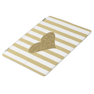 Elegant Chic  Faux Gold Glittery  Heart On Stripes iPad Cover