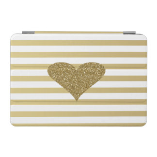 Elegant Chic  Faux Gold Glittery  Heart On Stripes iPad Mini Cover