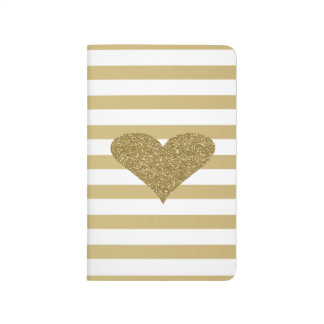 Elegant Chic  Faux Gold Glittery  Heart On Stripes Journal