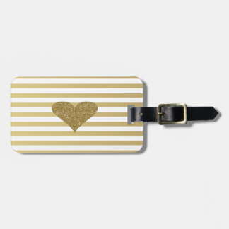 Elegant Chic  Faux Gold Glittery  Heart On Stripes Luggage Tag