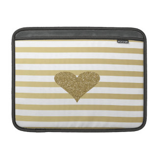 Elegant Chic  Faux Gold Glittery  Heart On Stripes Sleeve For MacBook Air