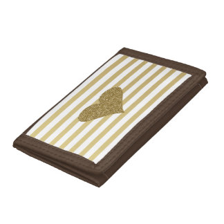 Elegant Chic  Faux Gold Glittery  Heart On Stripes Tri-fold Wallets