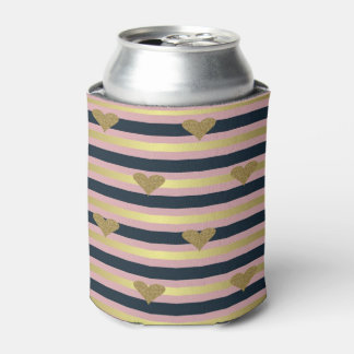 Elegant Chic  Faux Gold Glittery Hearts On Stripes Can Cooler