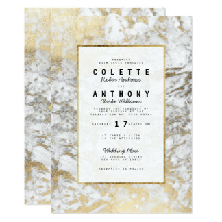 Elegant chic faux gold white modern marble Wedding Card