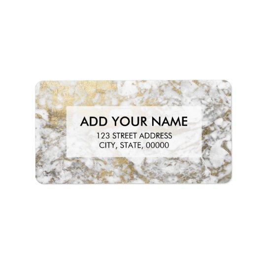 Elegant chic faux gold white stylish marble address label