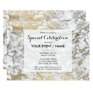 Elegant chic faux gold white stylish marble card