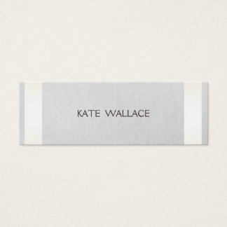 Elegant Chic Faux Satin Gold Striped & Gray Linen Mini Business Card