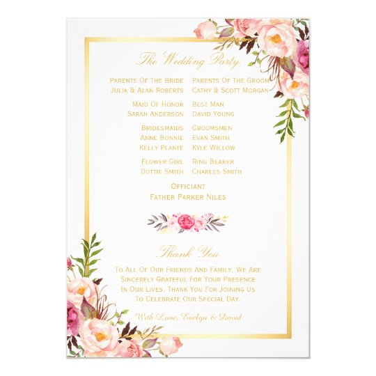 Elegant Chic Floral DIY Wedding Program Fans Back