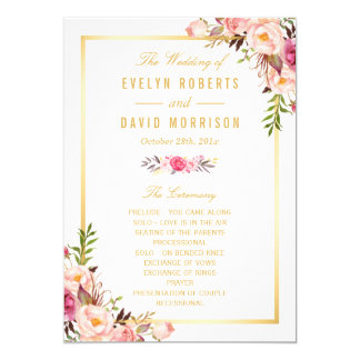 Elegant Chic Floral DIY Wedding Program Fans Front