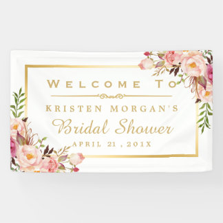 Elegant Chic Floral Gold Frame Bridal Shower