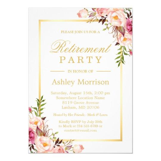 Elegant Chic Floral Gold Frame | Retirement Party