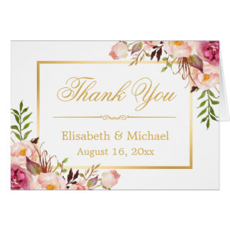 Elegant Chic Floral Gold Frame Thank You Note Card