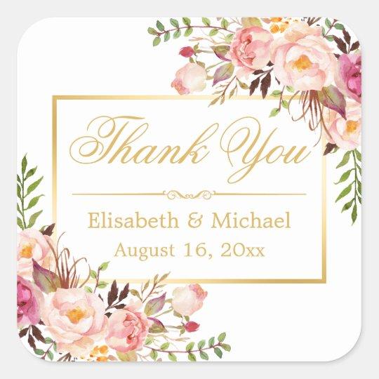 Elegant Chic Floral Gold Frame Thank You Square