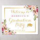 Elegant Chic Floral Graduation Party Sign
