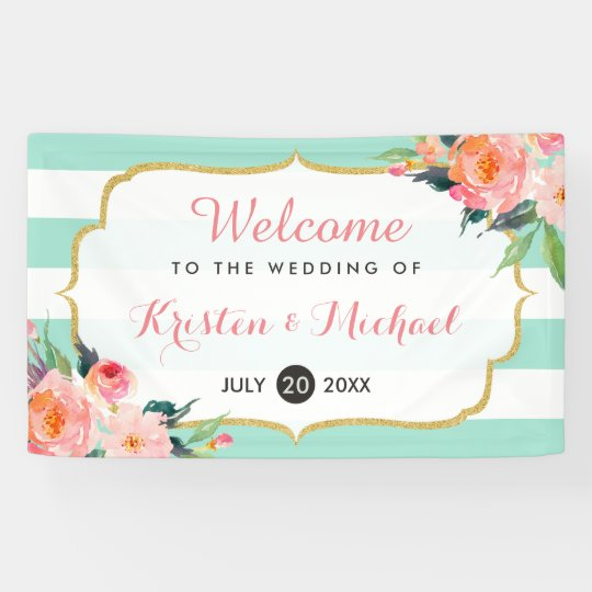 Elegant Chic Floral Mint Green Stripes Wedding Banner