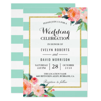 Elegant Chic Floral Mint Green Wedding Celebration Card