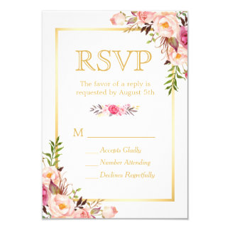 Elegant Chic Flowers Gold Frame RSVP 9 Cm X 13 Cm Invitation Card
