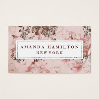 Elegant chic Gilded Blush Pink marble rose gold Business Card