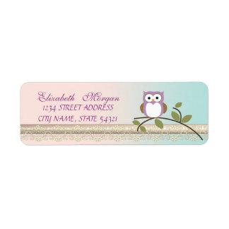 Elegant  Chic Girly Cute,Owl Return Address Label