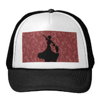 Elegant chic  girly damask flamenco dancer trucker hat