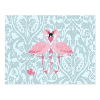 Elegant chic girly damask flamingos postcard