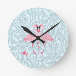Elegant chic girly damask flamingos round clock