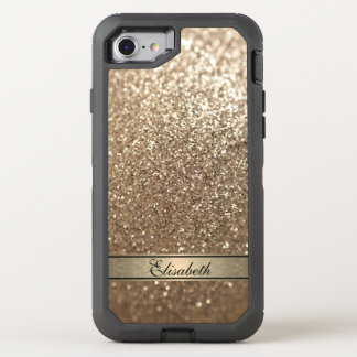 Elegant chic girly faux glittery monogram OtterBox defender iPhone 7 case