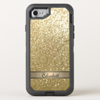 Elegant chic girly faux gold glittery monogram OtterBox defender iPhone 7 case