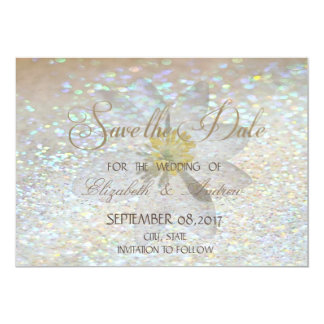 Elegant Chic,Glitter,Daisy Wedding Save the date Card