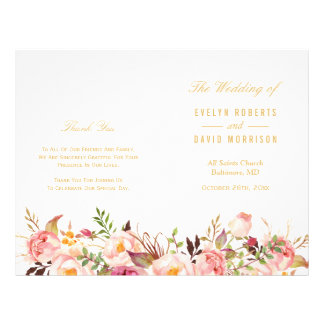 Elegant Chic Gold Floral Folded Wedding Program Flyer
